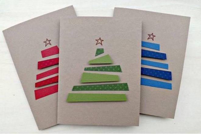 Làm thiệp cây thông bằng giấy vụn