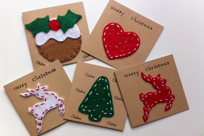 Làm thiệp Giáng sinh bằng vải