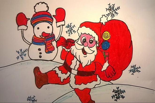 Tranh tô màu ông già Noel dưới sapo