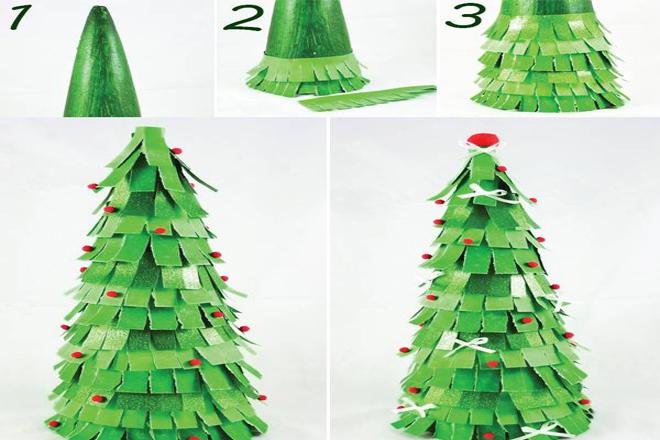 Cách làm cây thông bằng giấy