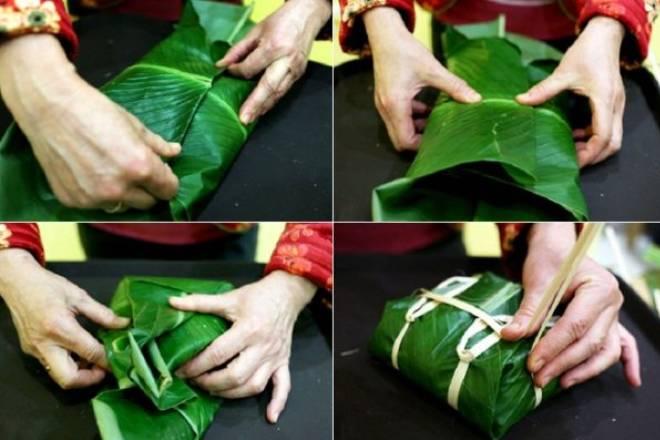 Gói bánh chưng bằng tay