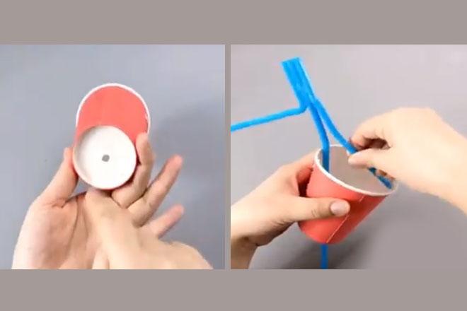 Đục lỗ cho ống hút vào cốc