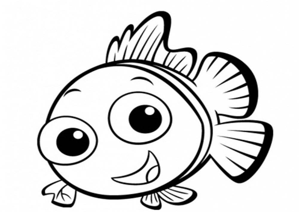 Bé tập tô màu con cá