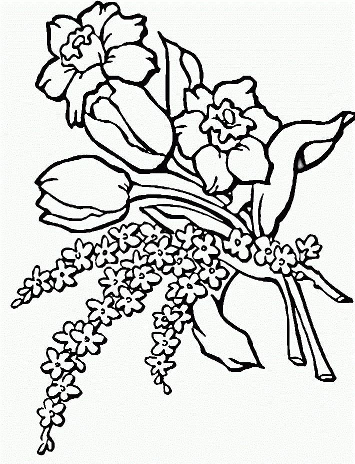 Bé tập tô màu hoa