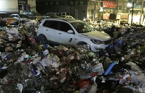 voi vang do xe de di nhau nguoi dan ong het hon thay o to ngap trong 10 tan rac parked_car_trashed.jpg